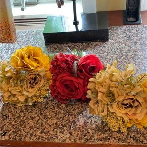 Other - 3 small floral bouquets, one red and 2 golden.